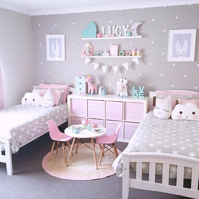 Girls bedroom idea super cute pink, gray and turquoise girlu0027s shared bedroom with polka dot QDQAZWC