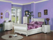 Girls Bedroom Sets Acme Furniture White Pearl Full Sleigh With Pull Out Bed 5 Piece Bedroom Set 01005f ACXPFXT