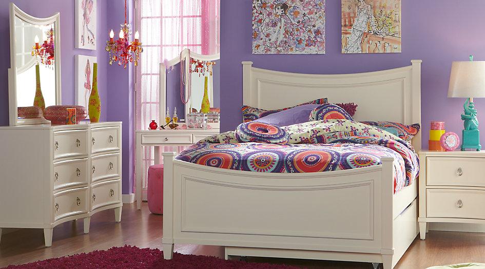 Girls Bedroom Sets Jaclyn Place Ivory 5-Piece Full Panel Bedroom - Bedroom Sets Light GEBQWSU