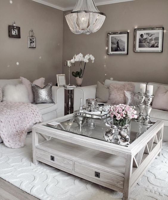 Shades of gray, creamy, and pink are perfect for a glamorous, girlish space.