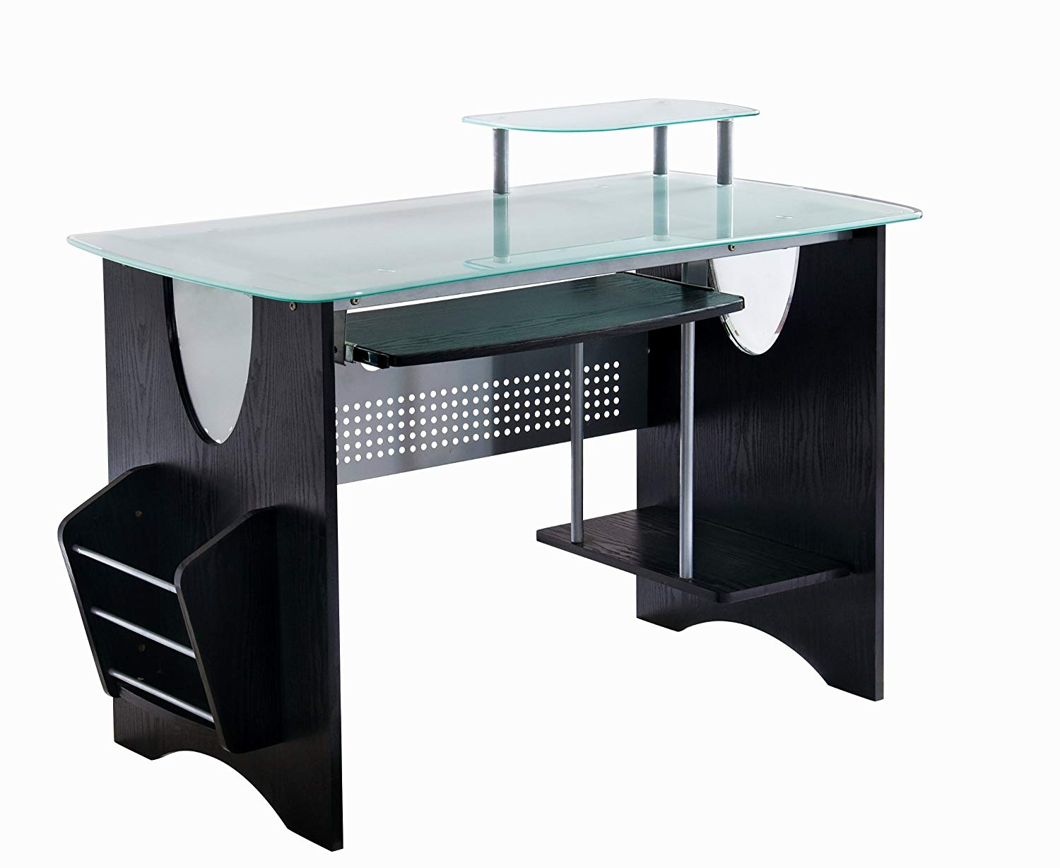 Computer table made of glass amazon.com: techni mobili stylish computer table made of frosted glass with storage space.  WQBPELX