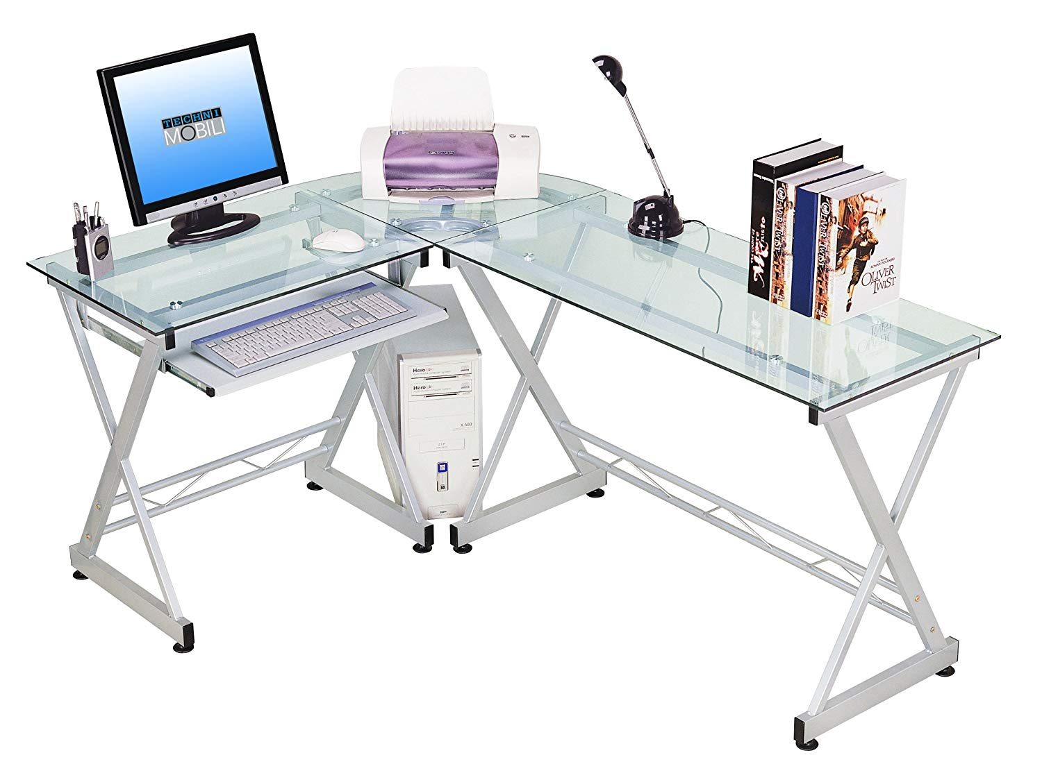 Computer table made of glass amazon.com: techni mobili corner desk made of hardened glass in L-shape with pull-out LILSVNG