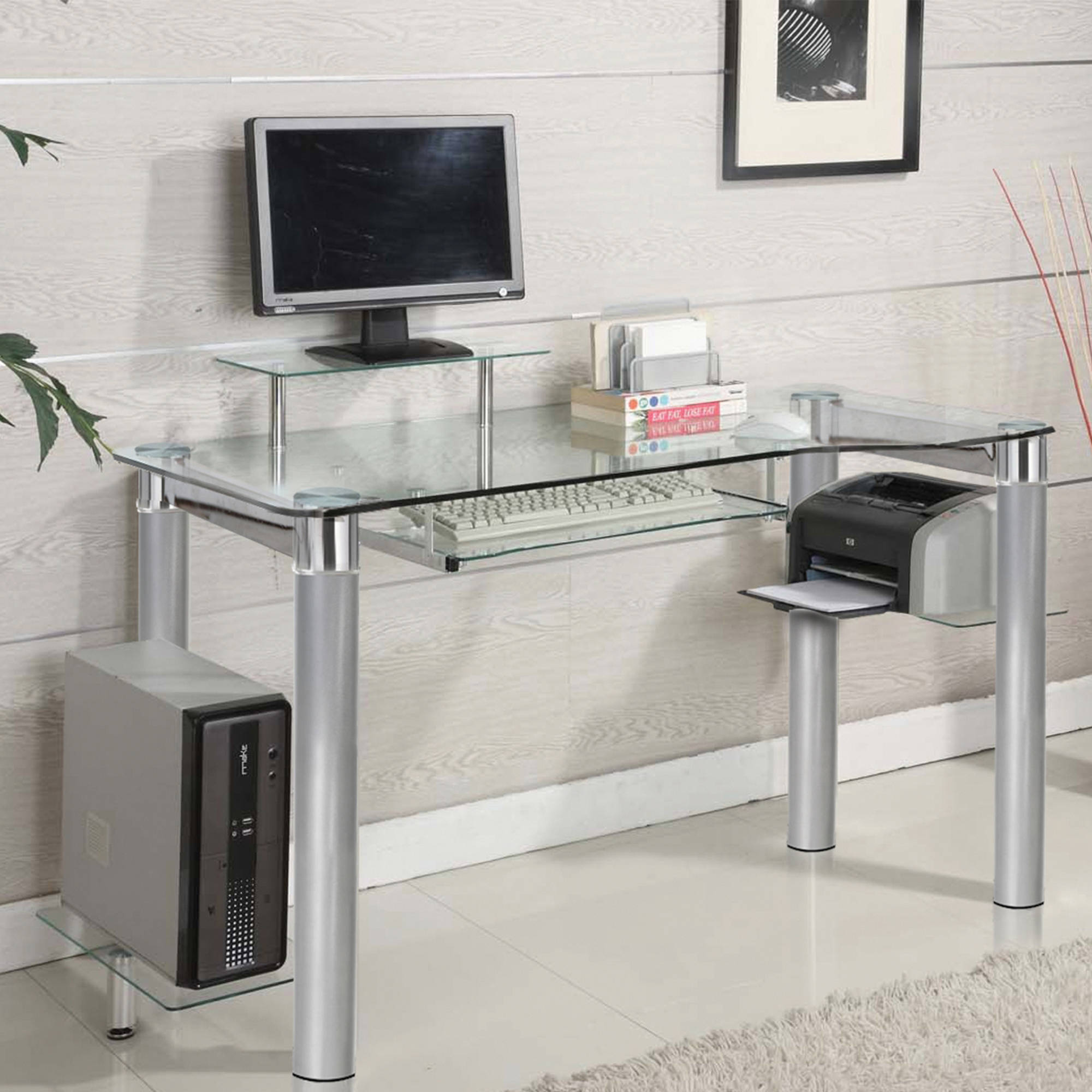 Glass computer desk innovex clear tempered glass modern style saturn desk - walmart.com OYXGQSW