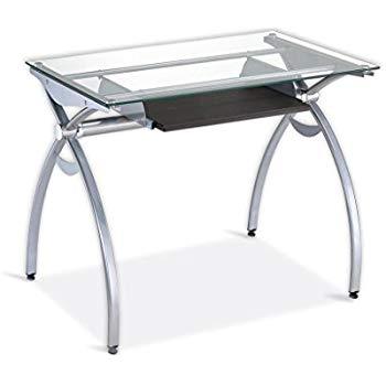 Computer table made of glass techni mobili contempo Computer table made of clear glass with extendable keyboard WLXICQG