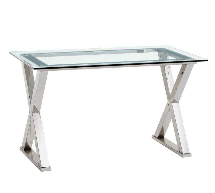 Glass desk ava Metal desk |  Pottery barn VXNDAPS