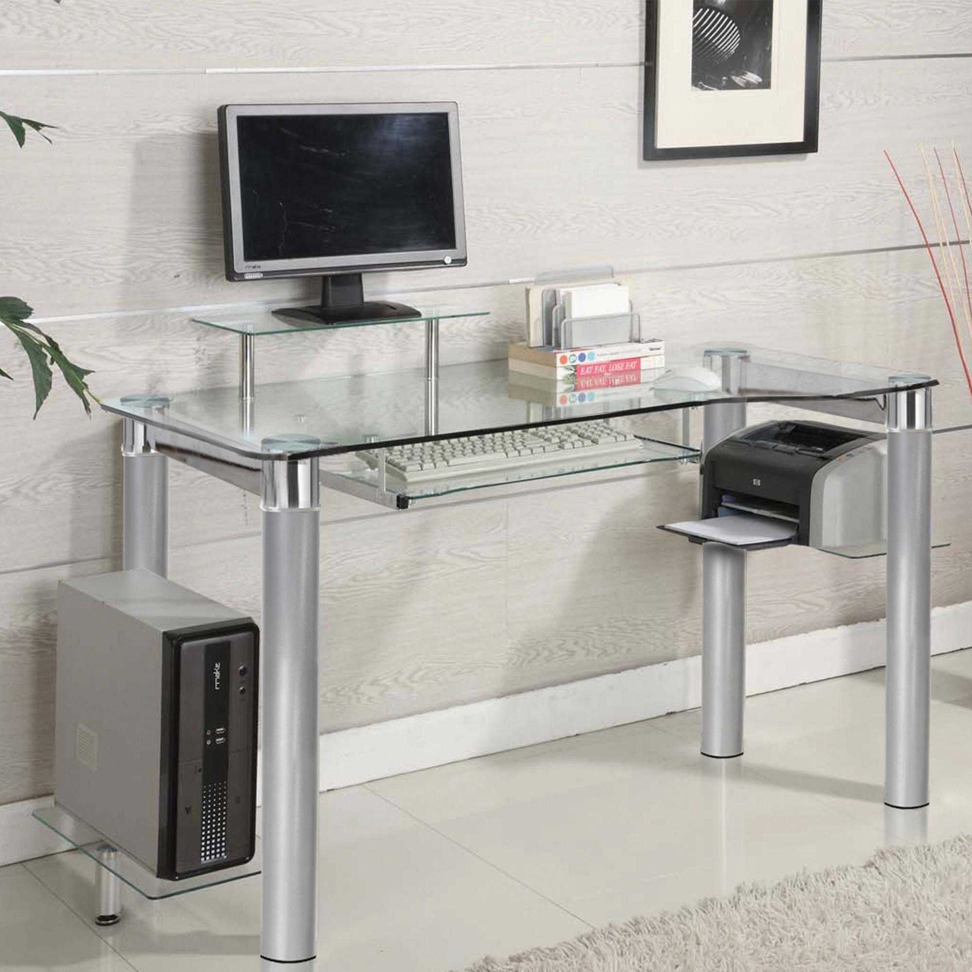 Glass desk innovex clear tempered glass modern style saturn desk - walmart.com GKFCNWH