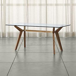 Glass desk brace Teak glass top Table 70 HHKSFTR