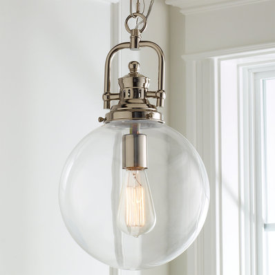 Pendant lights made of glass. Ball made of clear glass. Industrial pendant BCWHYHN