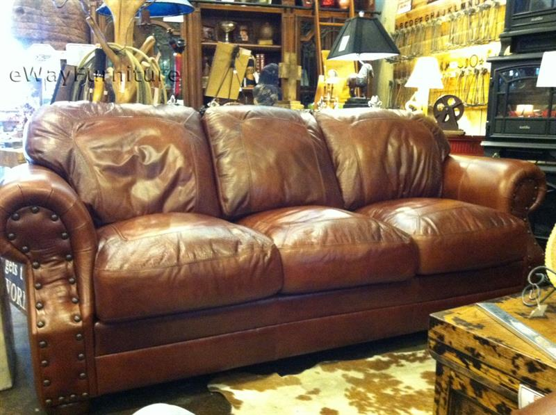 Back of the sofa in grained leather DYXVPUG