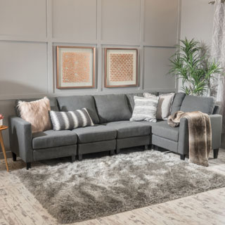 gray couch zahra 5-part fabric sofa extension from christopher knight home KLLOUZB