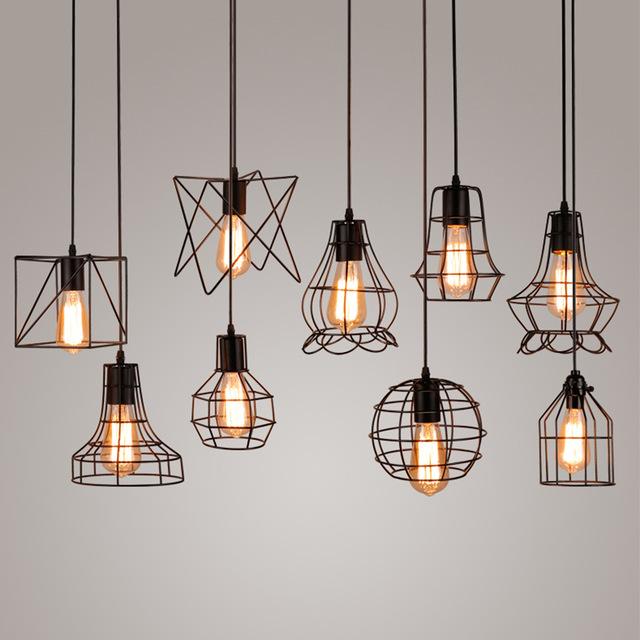 Pendant Lights Vintage Industrial Metal Cage Pendant Lamp Hanging Lamp Edison Light Bulb Lighting PSXSJNQ