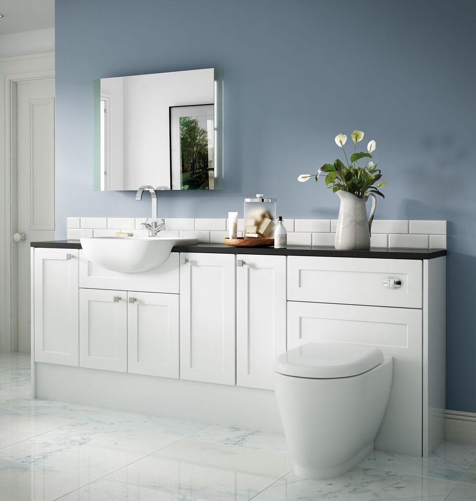 Henty Shaker matt white bathroom vanity units all sizes KKZMKDP