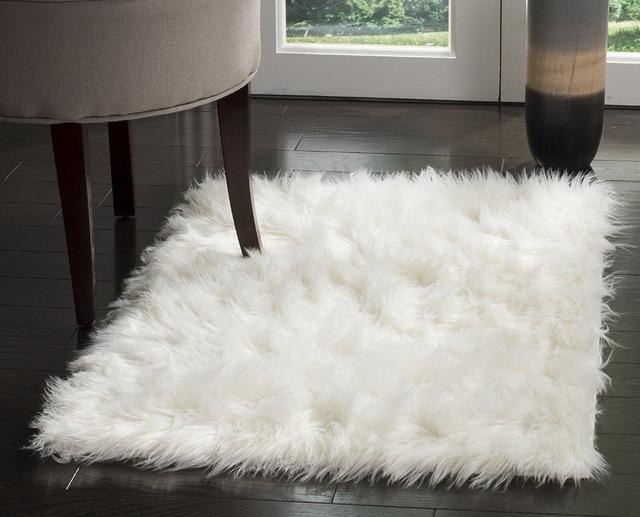 high quality sheepskin imitation rug, silky lambskin rug, ivory-colored rug WMTYGXS
