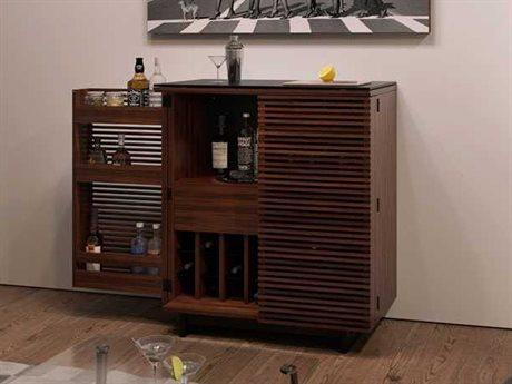 Home bar furniture bdi hallway 36u0027u0027 x 18.5u0027u0027 Chocolate-stained walnut compact bar cabinet SKNEMGU