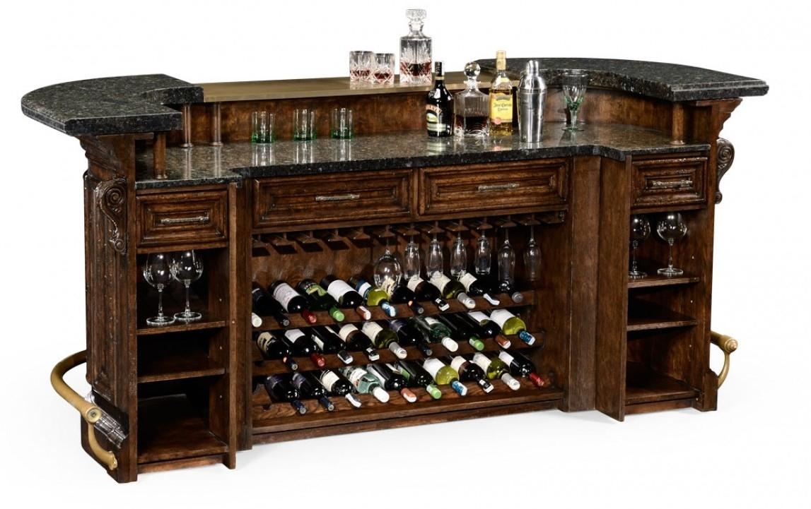 House bar furniture house bar.  Oak wood, granite top with brass rail BCPETSM
