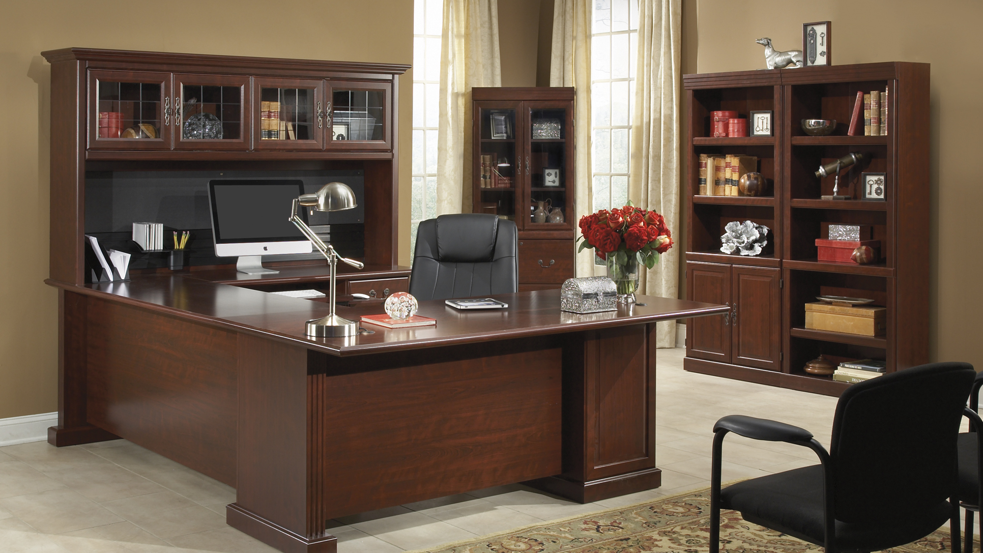 Home office furniture Heritage Hill Collection: filing cabinet, home office desk with bookshelves and JERVNWN