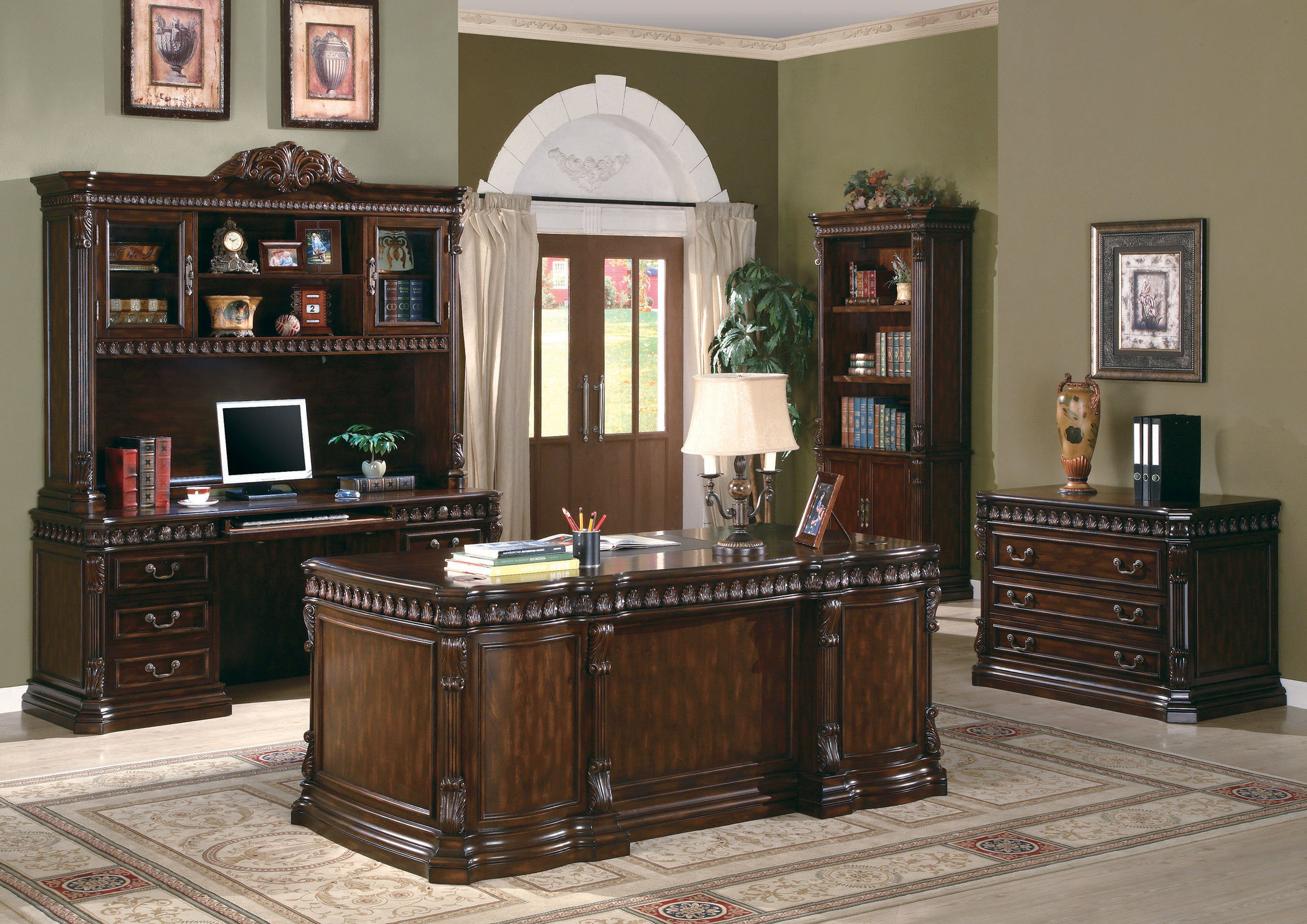 Home office furniture from Villa Park traditional desk made of carved wood Home office furniture set in LBPIUNV
