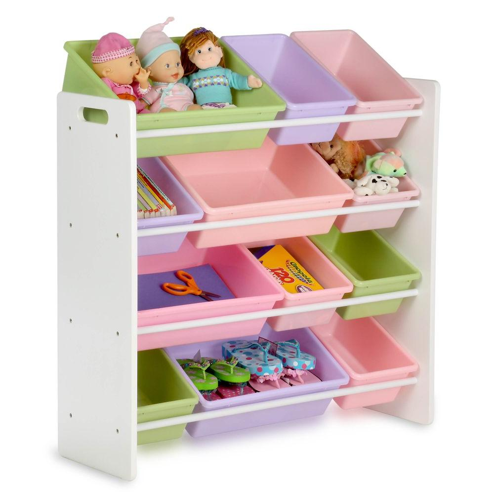 Honey-can-do storage organizer for children with 12 compartments in white LEWFEKR