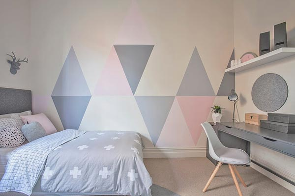 If you are looking for unique bedroom ideas for girls, paint triangles XAAHBJV