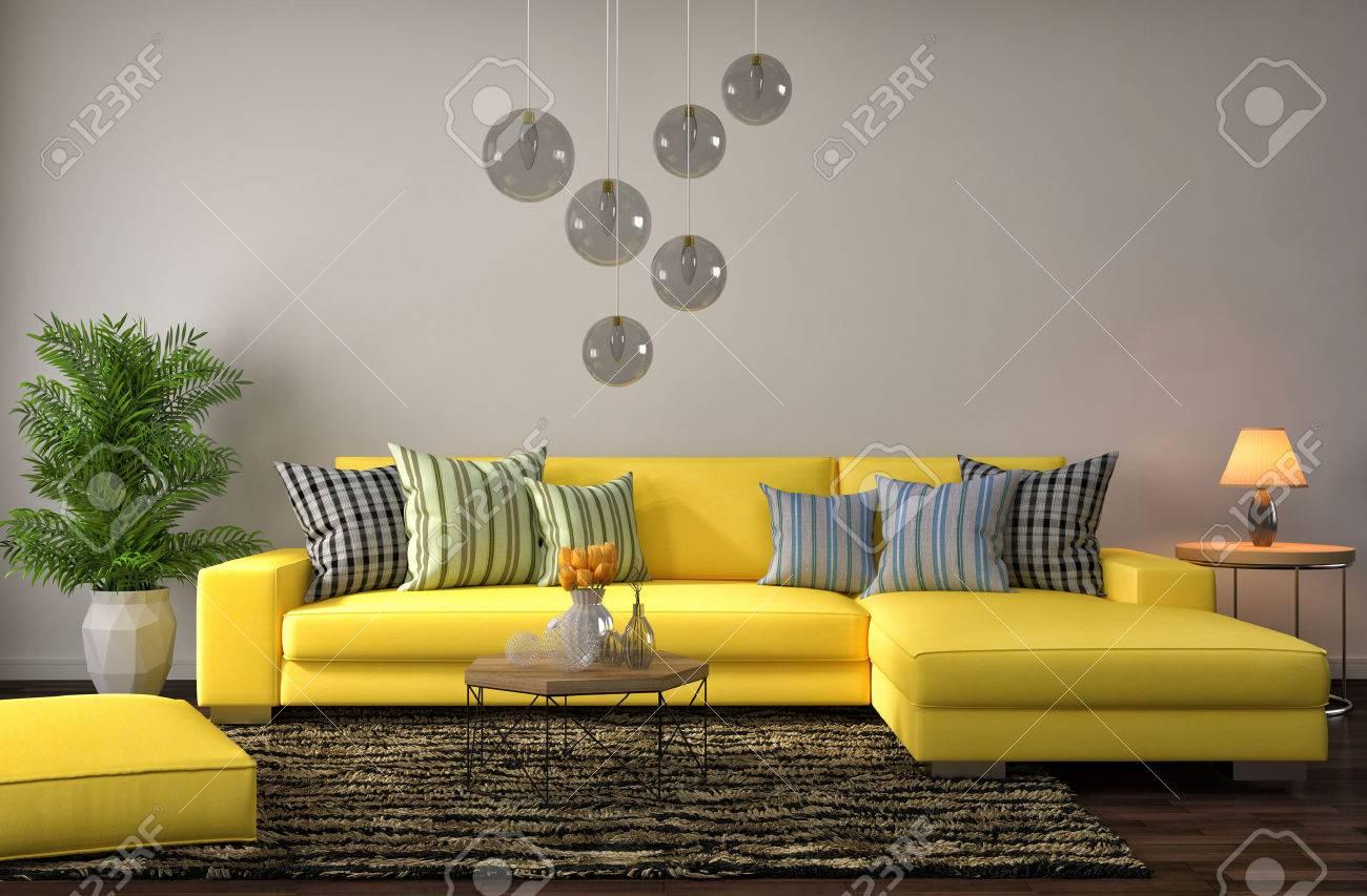 Illustration - interior with a yellow sofa.  3D illustration WXTULUM