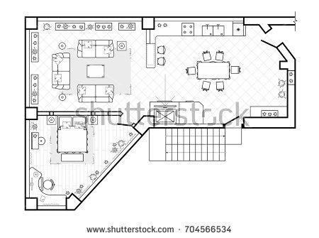 Interior design plan floor plan, top view.  the interior design terrace.  the hut is a SHJJNTO