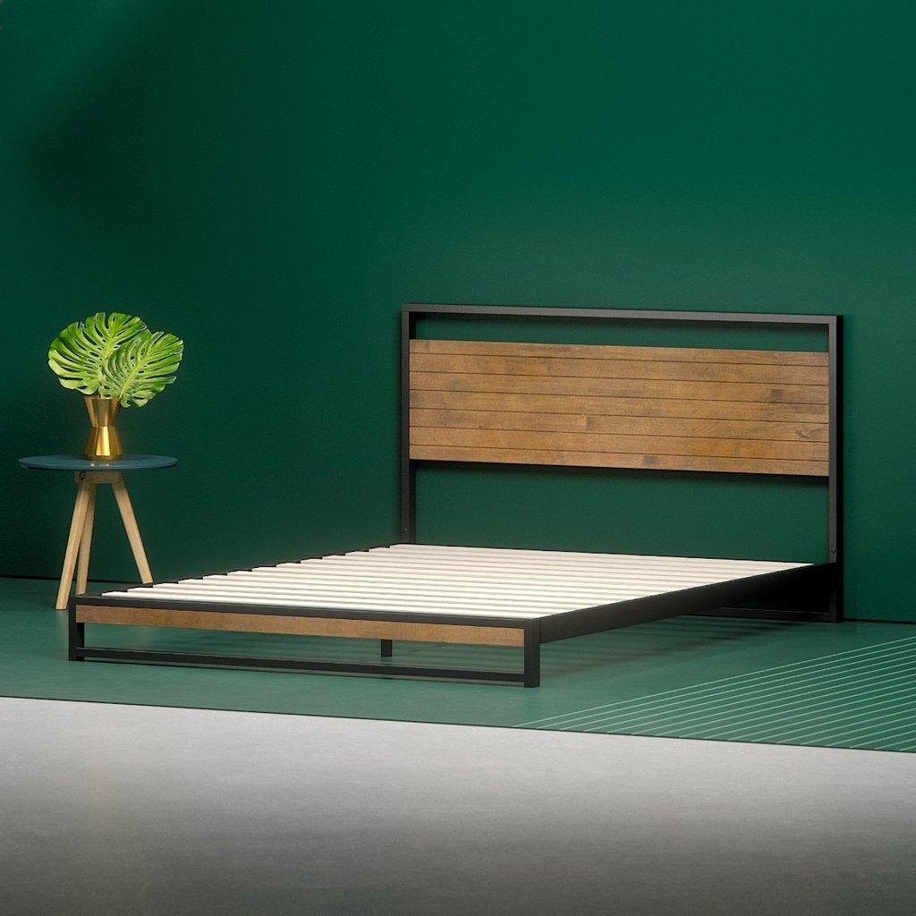 ironline low profile platform bed frame - angle shot AGIQLVZ