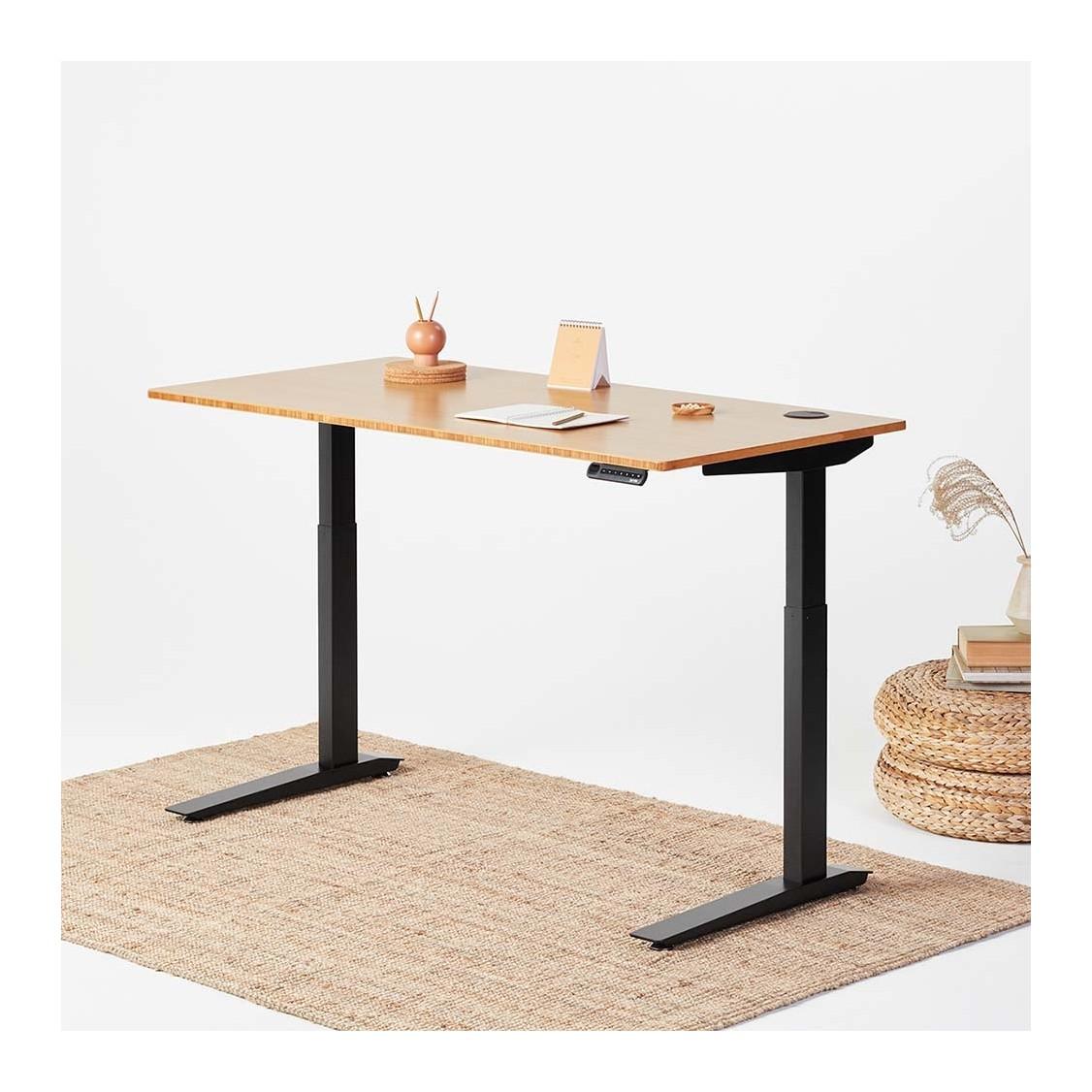 jarvis bamboo adjustable standing desk in black ... AYCTAOB