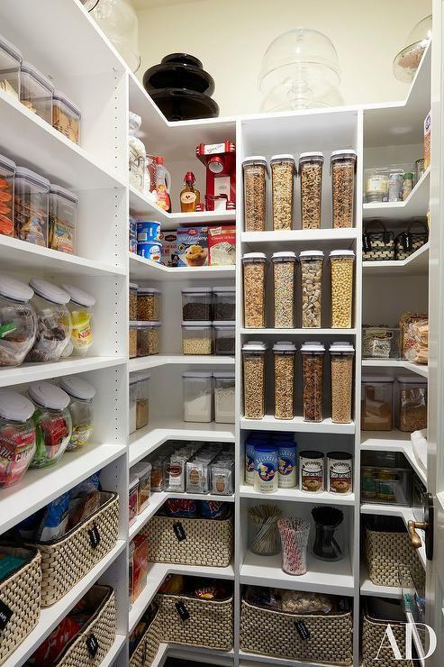 khloe kardashian - super organized pantry with white modular shelves CTLAACP