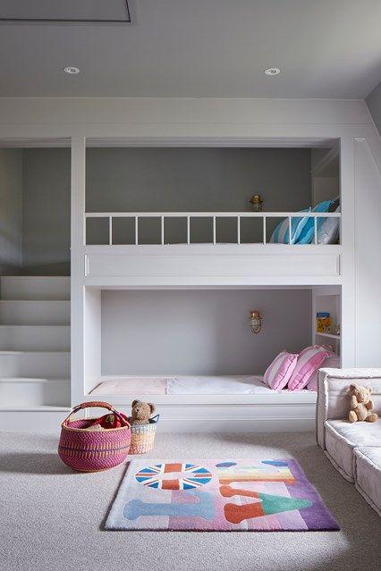 Children's room cool bedroom ideas for teenagers, kids and twins - built-in bunk beds BAIYOSP