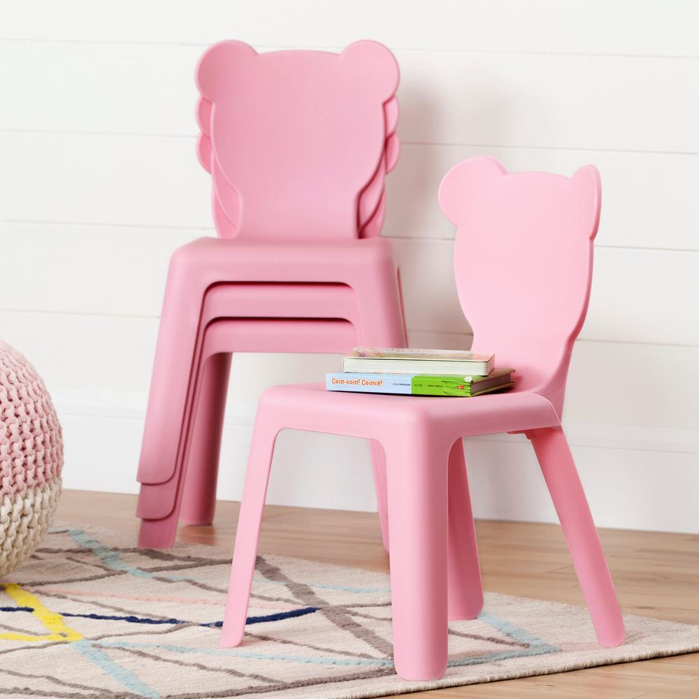 Children's chairs South Shore crea pink stackable plastic children's chair (set of 4) JLMCRBB