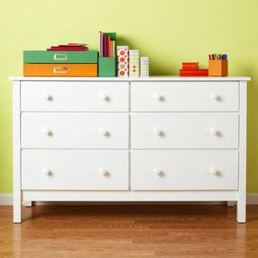 Children's chest of drawers: Children's 6-drawer white lacquered simple chest of drawers - white.  BXFQPKD