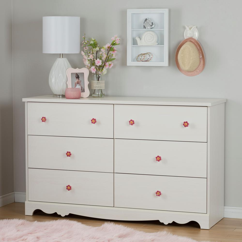 Children's Chest of Drawers South Shore Lily Rose Chest of 6 drawers in white wash OWCJIFH