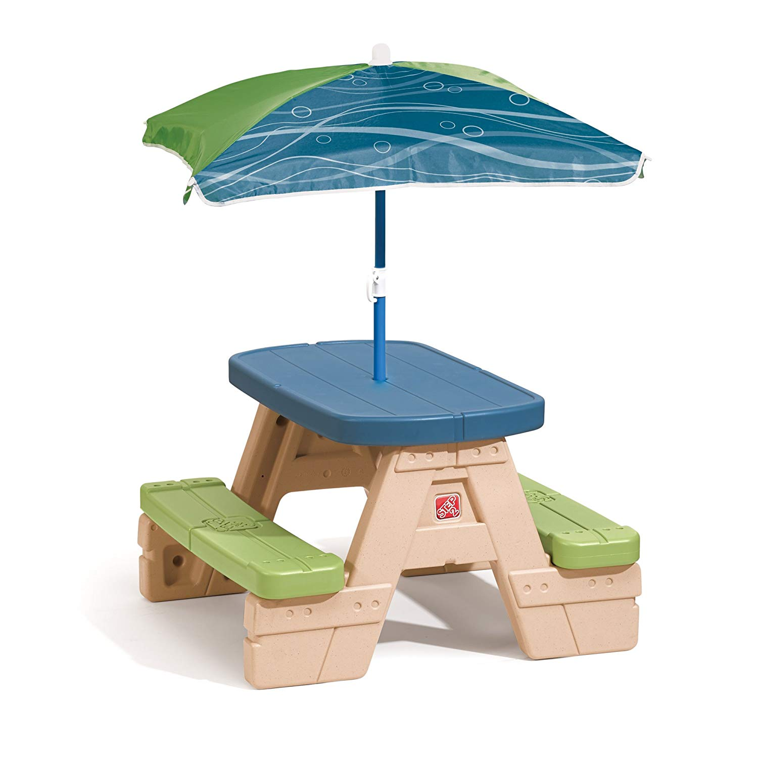 kindergarten furniture amazon.com: step2 sit and play picnic table for children with umbrella: toys & EOLJOQZQ
