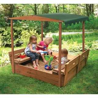 Children's outdoor furniture Badger basket covered convertible sandpit in cedar wood with canopy AGBUCMJ