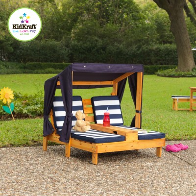 Children's garden furniture Kidkraft double chaise longue with canopy HGVWLBG