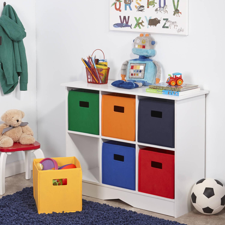 Child storage new children's playroom kindergarten storage cabinet with 6 containers, white and primarily ZIBNDUZ