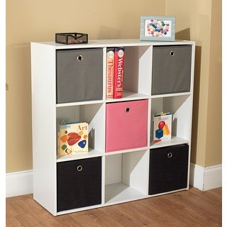 Child Storage Simple Living u0027jolieu0027 white bookcase with five fabric bins - 29.5 VBDGTLC