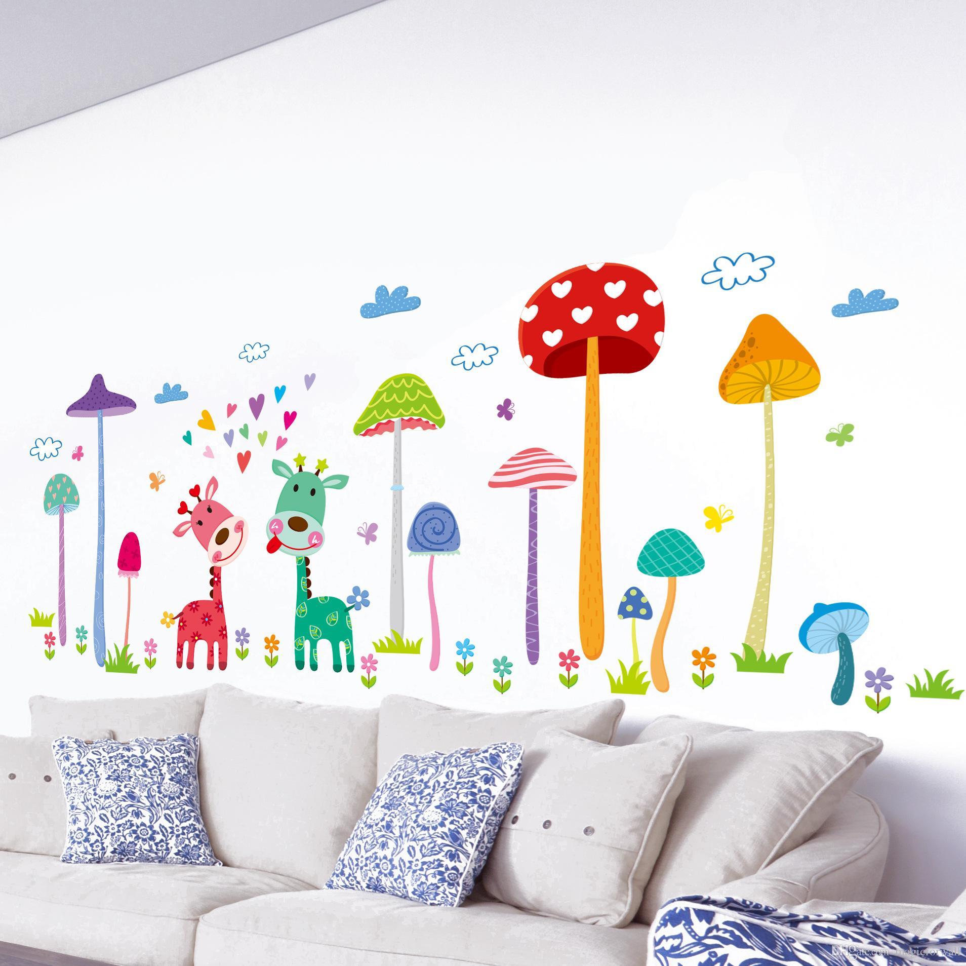 Kids Wall Decals Forest Mushroom Deer Animals Home Wall Art Mural Decor Kids Baby Room OHWUZEB