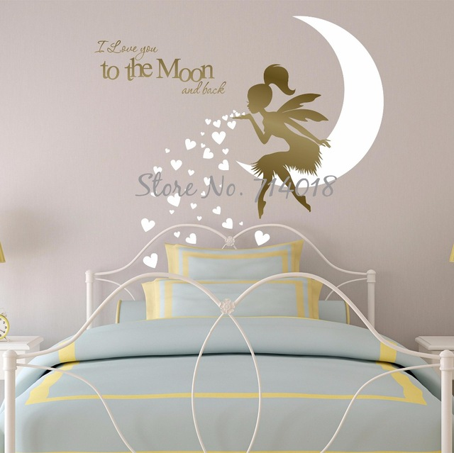 Children's wall decal, children's wall decal fairy, newest fairy wall decal with blowing heart kisses USJHFWJ