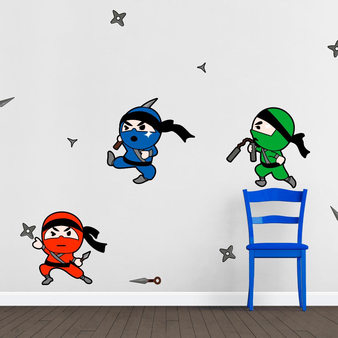 Kids wall sticker Ninja Kids wall sticker printed ... RCMDLEO
