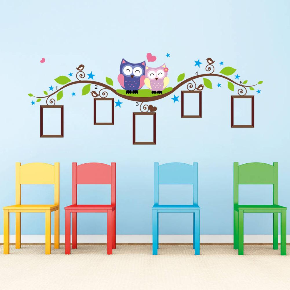 Kids Wall Decals Owl Branch Picture Frame Wall Decals Removable Wall Stickers Children's Room GNPJZEI