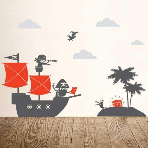 Kids Wall Decal Pirate Kids Wall Decal - Red Ship - Vinyl Wall Sticker EIDVFLB