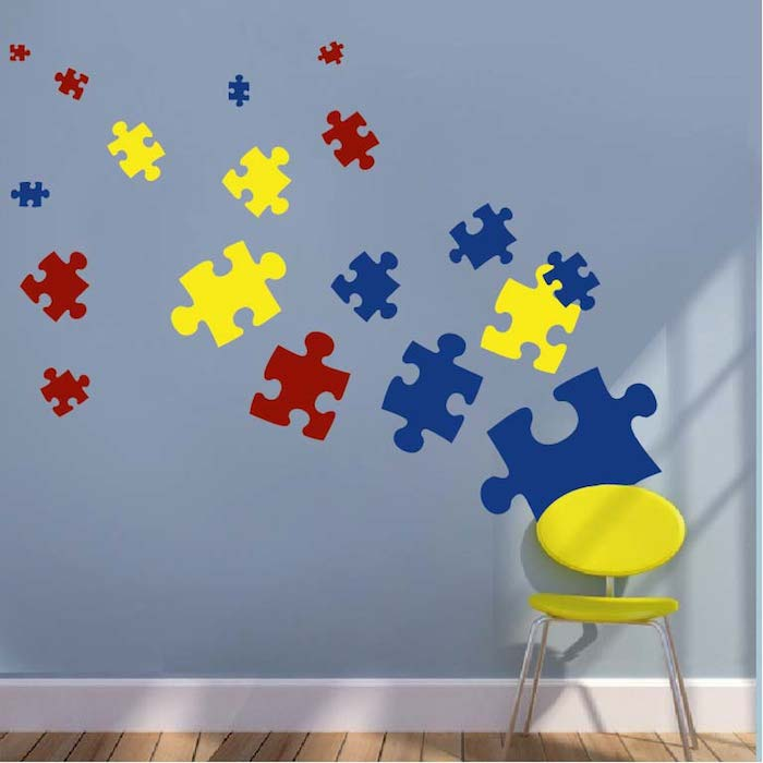 Children's wall decal puzzle piece wall decal HQEJFIW