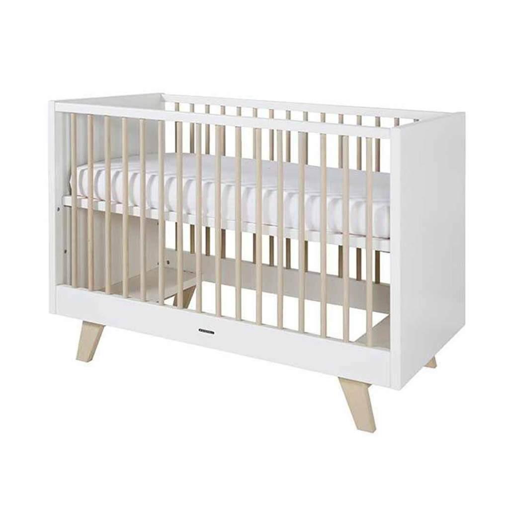kidsmill fynn cot - 60 x 120 - white & natural AKVQNZP