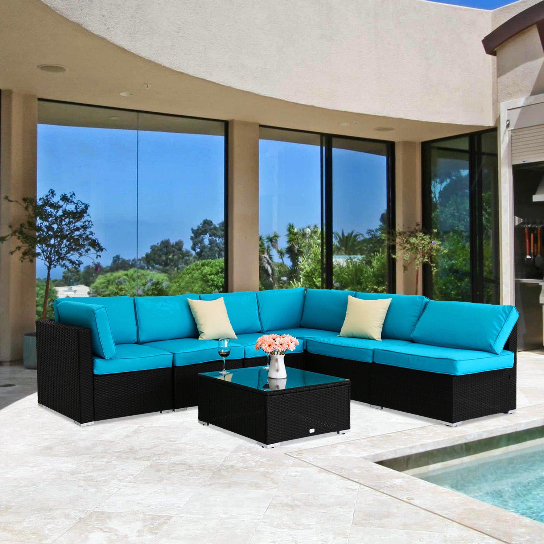 kinbor 7pcs Outdoor Garden Furniture Sectional PE Wicker Rattan Sofa Set KQYNGUX