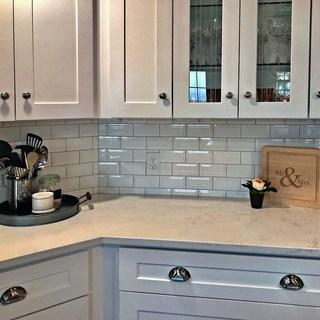 Kitchen Back Wall Tiles Somertil 3x6-inch Malda Beveled Subway Glossy White Ceramic Wall Tile (136 WIDRIGD