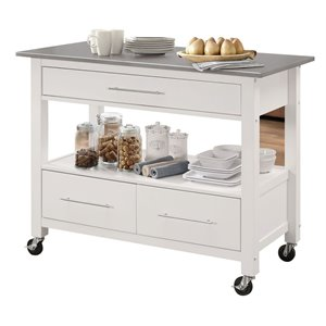 Kitchen trolley Acme Ottawa kitchen island made of stainless steel in white RGUOZZL