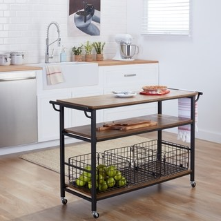 Kitchen trolley Maison Rouge Mayer Metal frame rustic kitchen trolley with wooden table tops and GZDQAEL