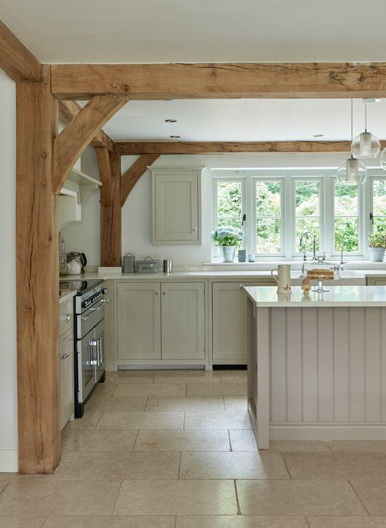 10 Stunning Kitchen Ceiling Ideas - Houspire    Country kitchen.