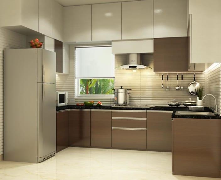Kitchen design U-shaped kitchen with modern cabinets and false ceiling LZATIYP